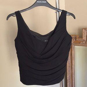 Lillie Ruben Black Silk Draped Sleeveless Crop Top